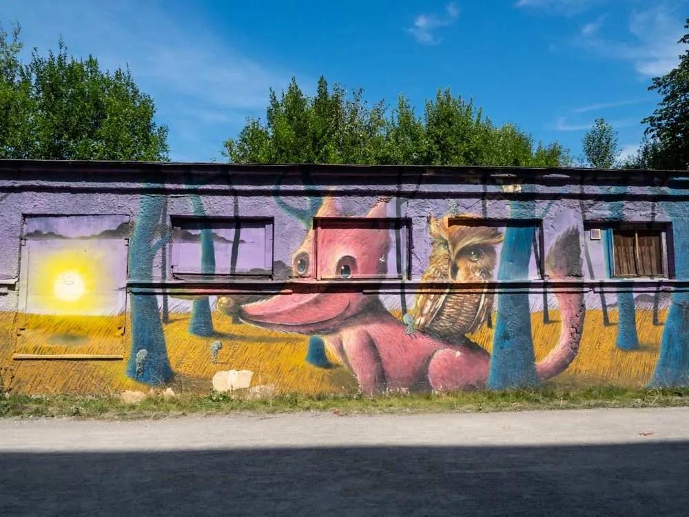 Tallinn Cultural Kilometer mural by Sens fox, wolf and owl