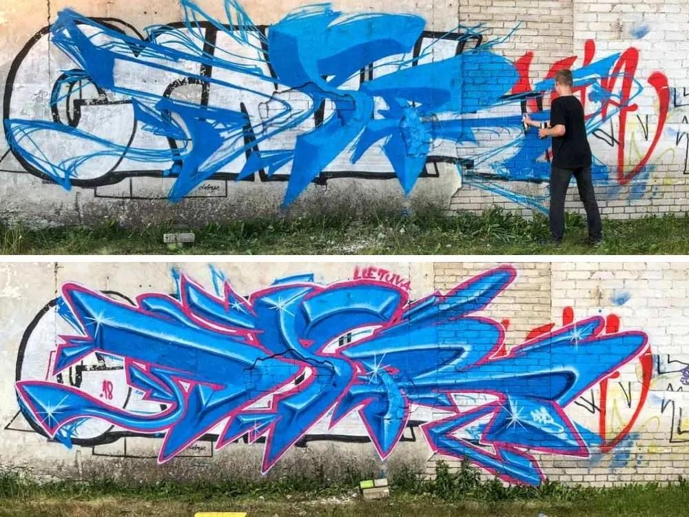 Tallinn Telliskivi graffiti artist, blue spray paint