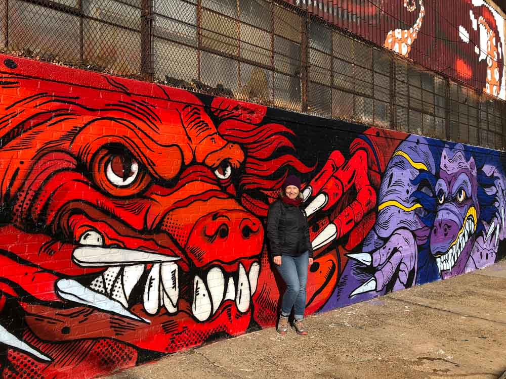Brooklyn mural by Croctime red and purple monsters