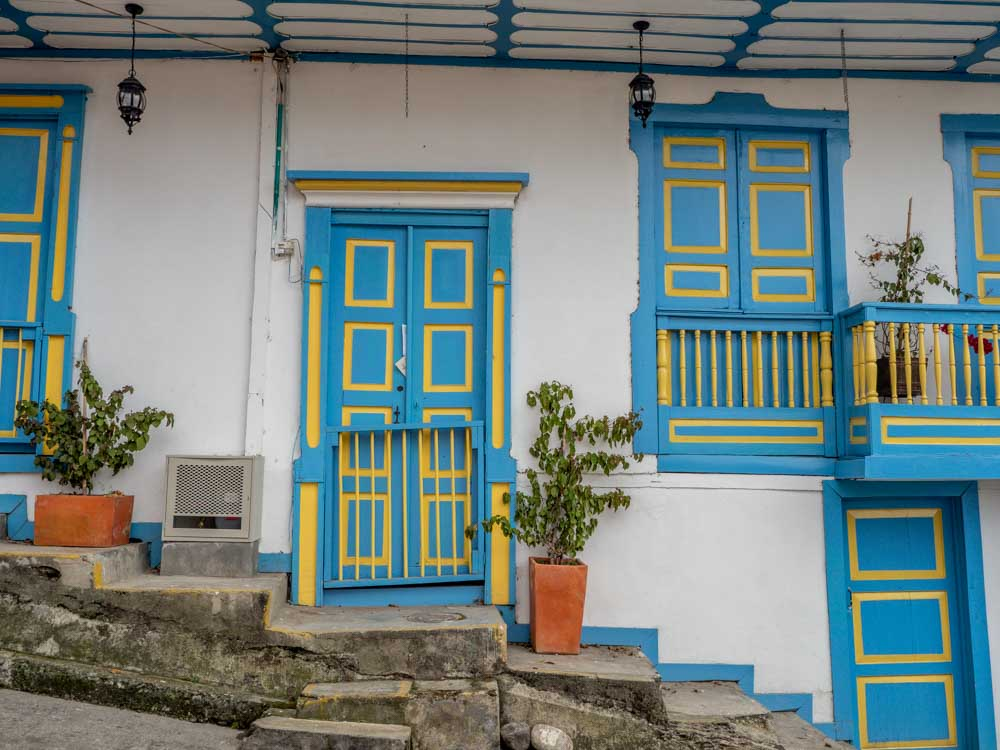 Salento Colombia colorful door in blue and yellow