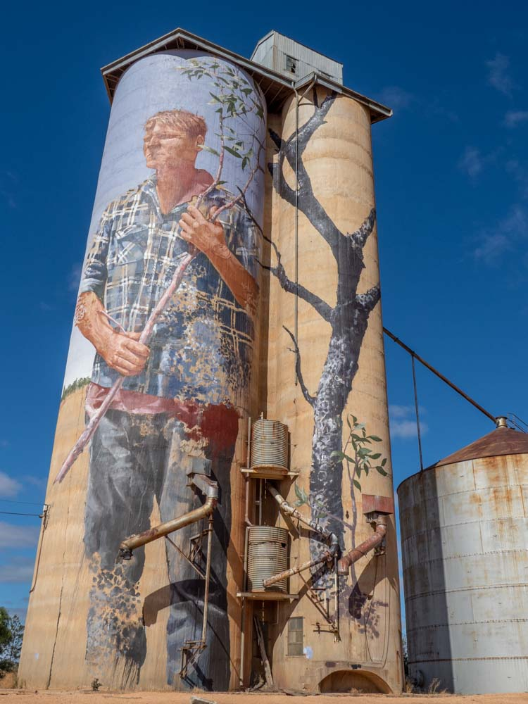 Patchewollack silo mural by Finatan Magee. Mural of farmer on grain silo.