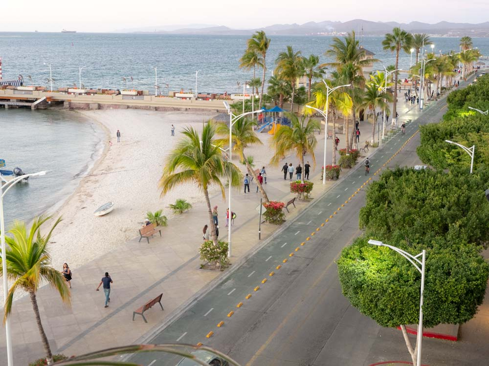 La Paz Mexico Malecon view from above with palm trees and beach