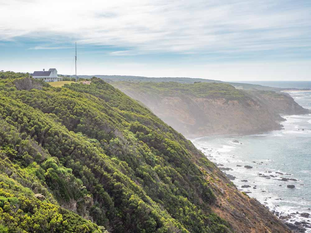 Eastern view of Cape Otway on Great Ocean Road trip in Australia