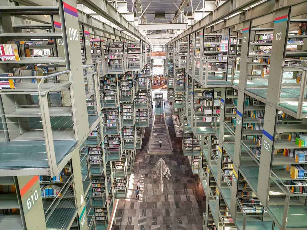 Mexico City  Biblioteca Vasconcelos. modern interior with bookshelves