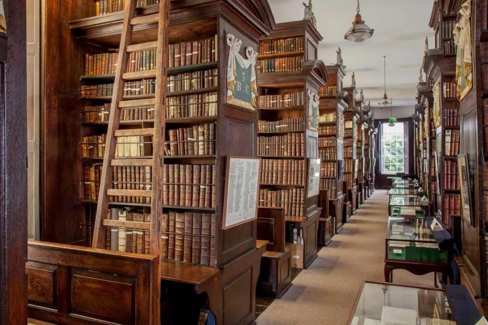 Marsh's Library Dublin Ireland. bookshelves and ladder