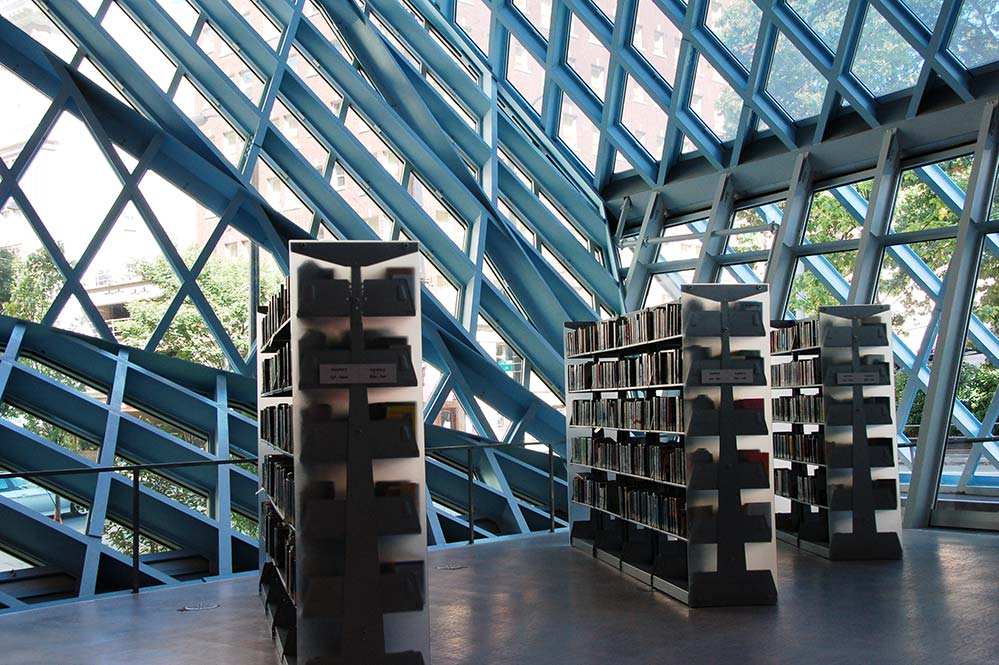seattle public library. interior with bookshelves