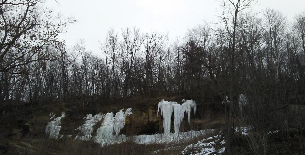 icicles on rocky outcroppings in the bluffs of western wisconsin