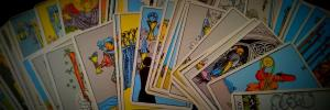 tarot cards fanned out in two rows