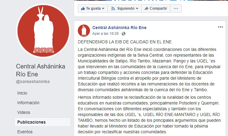 Ministerio de Educación RECORTA sueldos a docentes de comunidades Asháninkas