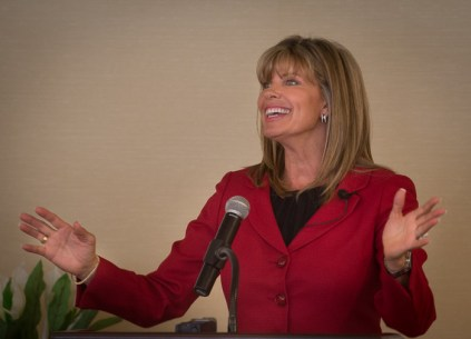 Keynote speaker Carrie Morgridge of the Morgridge Family Foundation addresses the crowd at the Foundation for MetroWest's third annual Community Leadership Breakfast at the Wellesley Country Club on Thursday, April 28.