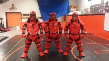 """Pictured in the """"attacker suits"""" are Wayland Police Officers, Detective Sergeant Jamie Berger, Officer Jarrod Kullich and Detective Tyler Castagno. Also assisting in the class were Officer Mark Hebert, Youth Officer Shane Bowles and Officer Lynnet Sloan."""