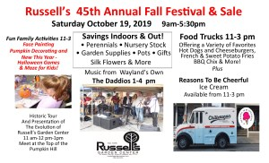Russell's 45th Annual Fall Festival &Sale @ Russell's Garden Center