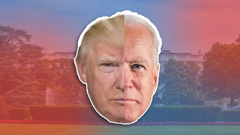 "Trump and Biden split face in front of the white house ""So your candidate didn't win: 7 ways to move past the election"""""