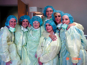 In the picture from left to right: front row: Laurie Shown, RN, Kim Lucas, RN, Barb Moore, RN, Heather Vale, R.N.   In the back row (slanted) stand three-left to right:  Elaine Royce, RN, Betsy Cline, RN (my daughter), and Lisa Nolley, RN.     GREAT JOB GIRLS!!!!!!!