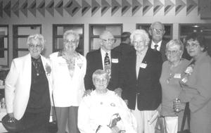 Denver Howard & company (The Daisies) Fort Wayne Baseball Hall of Fame Banquet Friday, May 24, 2002 L-R Vivian Kellogg, Dottie Collins, Denver Howard, Fran Jansen, Dan Schroeder, Isabel 'Lefty' Alvarez, Jean Harding, Front, Whimp Baumgartner