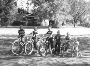Mae Julian - 2nd from the left - on Old Trail Road, in front of Jay Brydon's house (now the Post Office). circa '53