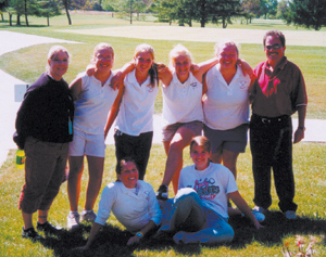 LUERS GIRLS GOLF PLAYED THEIR BEST ALL YEAR (L-R: Front Row Sitting) Courtney Seward and Andrea Allphin. (L-R: Standing) Coach Molly Weissert, Heather Hendrickson, Kristi O'Brien, Haylee Eckert, Abbey Waltke, and Coach A. J. Kalver. Not present-Madison Pepe.