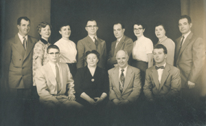 "Churchward Family circa 1954. (l-r standing) Bill, Lorraine (Hoss), Edna (Imel), Wilbur ""Webb"", Page,  Susan (Vorich), Rita (Kendrick), James (l-r seated) Paul, Edna (Herber) (mom), Charles (dad), Eugene ""Jeep"" Deceased in 1935 Celia (Not in picture)"