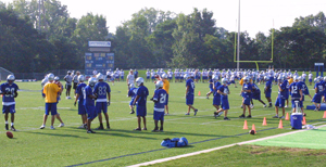 photo by Bill Scott Practice began on Thursday morning, August 18 for USF Football. First game is scheduled for Septmeber 10 at Indiana State at 1pm in Terre Haute. Home games will begin September 17.