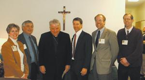 (l-r) Kris Billingsley, Dave Steffen (Secretary/Treasurer Redeemer Radio), Bishop John D'Arcy, Chris Langford (President Redeemer Radio), Greg Erlandson (Board of Directors, Redeemer Radio), and Jim Roy (Board of Directors, Redeemer Radio).