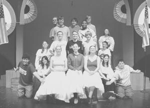 The cast for Tintypes: Front row; Jordan Plohr, Ashley Mendez, Kathryn Driscoll, Elizabeth Burris, Kimberly Snyder, Becca Coffelt, Nathan Krueckeberg. Second row; Lauren Marlow, William Stanley, Peter Schnellenberger, Paul Berghoff, Sara Smith. Back row: Nathan Driscoll, Jayson Barrand, Brandon Meuchel, Chase Brown, Adam Colchin, Amanda Wachle.