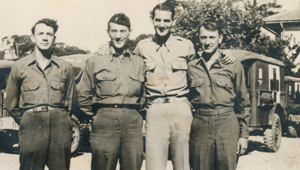 All cousins in France during WWII--June 1945. (L-R) Jennings J. Waldron, Roy Brandan, Henry Brandan, and Donald W. Waldron.