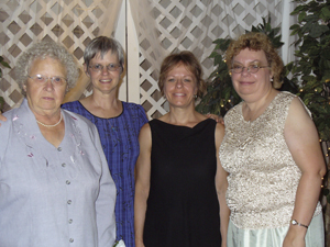 Our mother Dorothy Levihn poses with daughters Lois, Brenda and Karen at her grandson's wedding.
