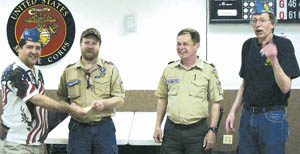Check presentation to Troop 344 (L to R) S.A.L. Commander Kevin Gwozdz, Mat Johnson –Assistant Scoutmaster Troop 344, Walt Pressler – Assistant Scoutmaster Troop 344 and Barry Confer – S.A.L. Treasurer.