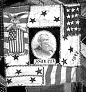 This quilt honors President Benjamin Harrison. Note the five pointed stars indicative of star fabric manufactured at or soon after the 1876 American Centennial. A Harrison Rose quilt made by Mrs. Susan Nokes McCord of McCordsville, Hancock County, Indiana, circa 1860.