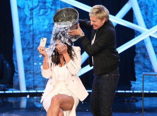 Kim Kardashian, Ellen Degeneres, Ice Bucket Challenge image courtesy of E! Online