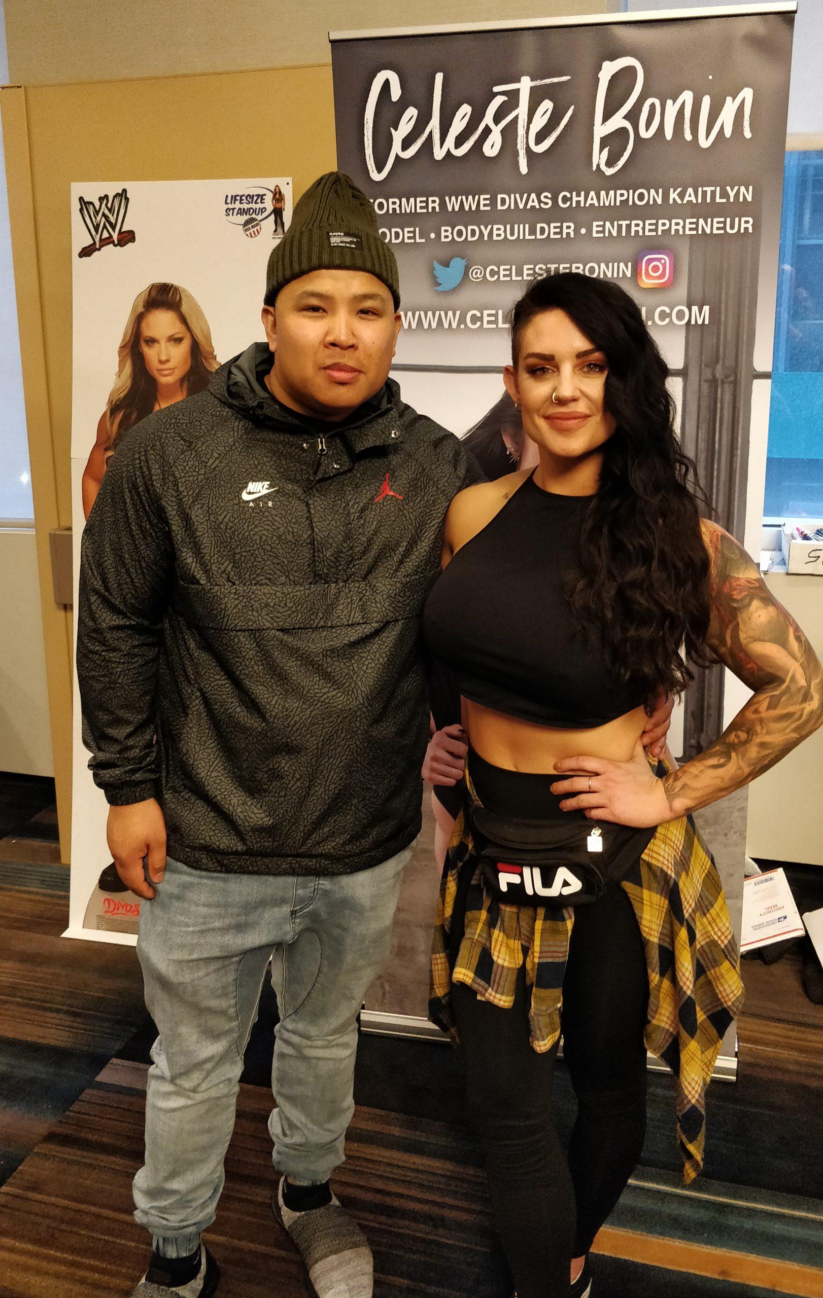Wayne Lapasa with Celeste Bonin FKA WWE Diva Kaitlyn WrestleCon New York