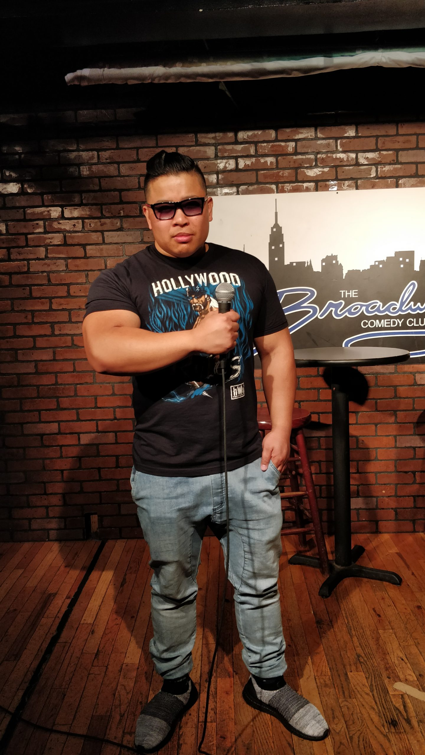 Wayne Lapasa on stage at the Broadway Comedy Club