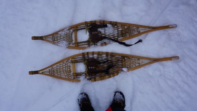 Ojibwe snowshoes, note the narrower profile for weaving between trees.