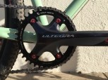 Ultegra crank with Wolftooth Components 39-tooth chainring detail.