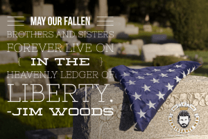 Ameircan Flag folded upon a headstone tribute to memorial day in united states with quote from Way of the Renaissance Man Jim Woods