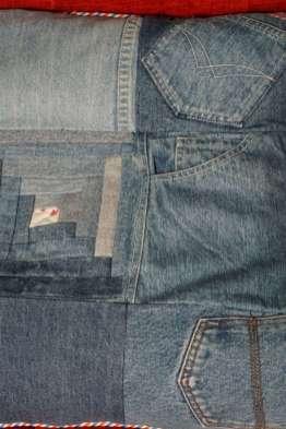 Wayome Upcycling coussin en jeans détail milieu