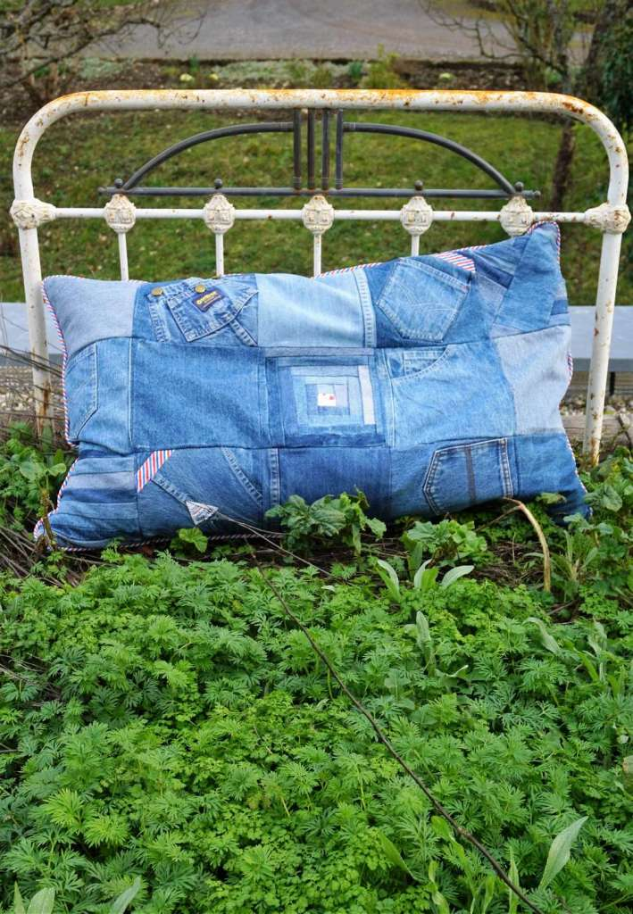 coussin en jeans herbe