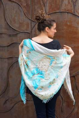 Wayome Upcycling foulard bleu ciel dos