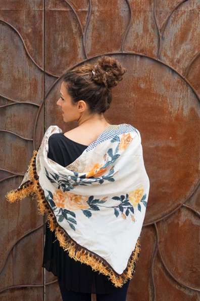 Wayome Upcycling foulard paille soleil dos cote pile