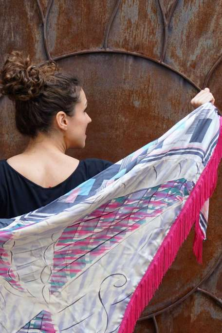 Wayome Upcycling foulard rose fushia dos