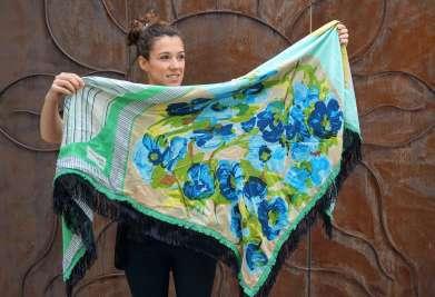 Wayome Upcycling foulard vert d'eau cote pile