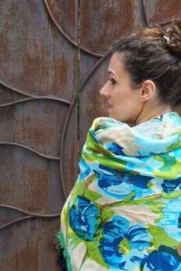 Wayome Upcycling foulard vert d'eau dos zoom