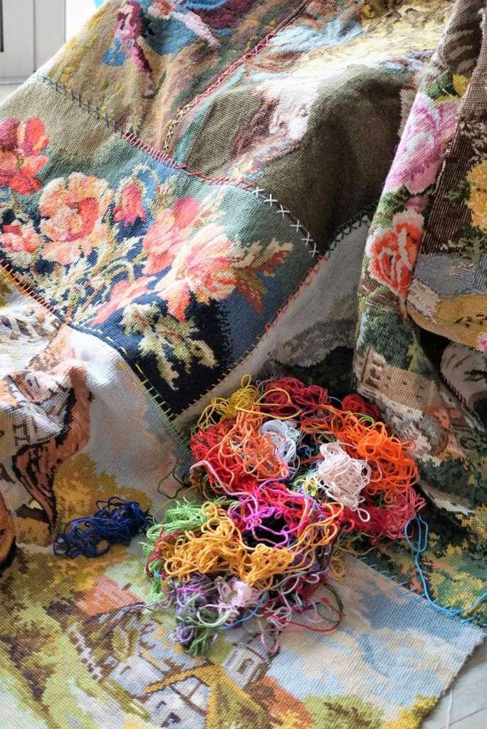 tapis réalisé avec des canevas tas de fils