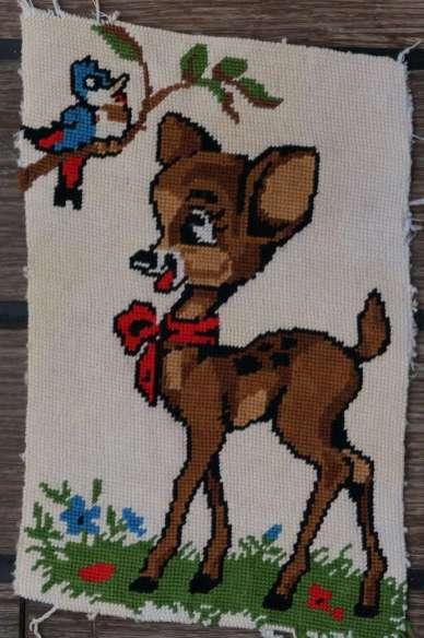 Wayome Upcycling petit florilège de canevas bambi dessin