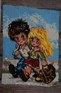 Wayome Upcycling petit florilège de canevas couple enfants