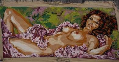Wayome Upcycling petit florilège de canevas femme nue droite