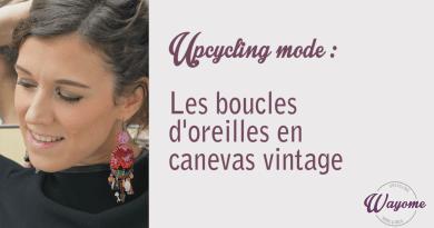 upcycling mode : des boucles d'oreilles en canevas vintage image une