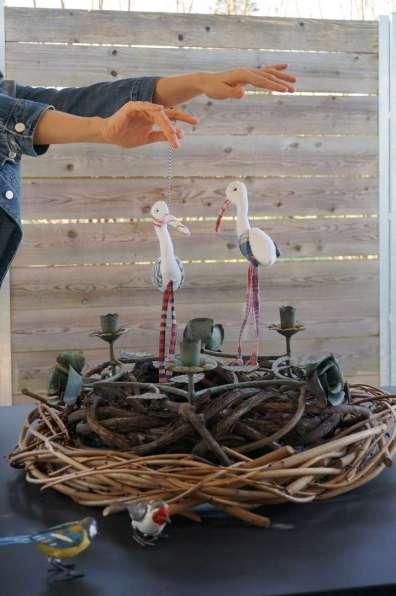 Wayome upcycling des cigognes qui se balancent marionettes nid