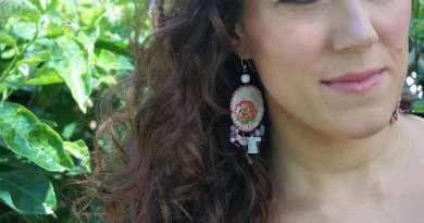 Wayome upcycling Boucles d'oreilles en canevas rose image une