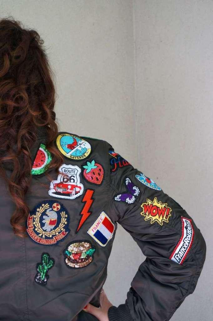 Wayome upcycling Le résultat de mon upcycling de veste bombers avec des patchs dos